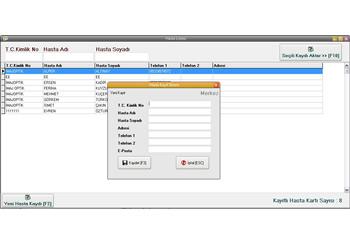Optik Programı Hasta Kayıt Ekranı