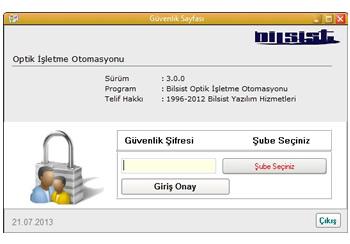 Optik Programı Güvenli Giriş Ekranı
