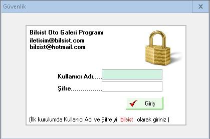 Oto Galeri Programı Giriş Ekranı